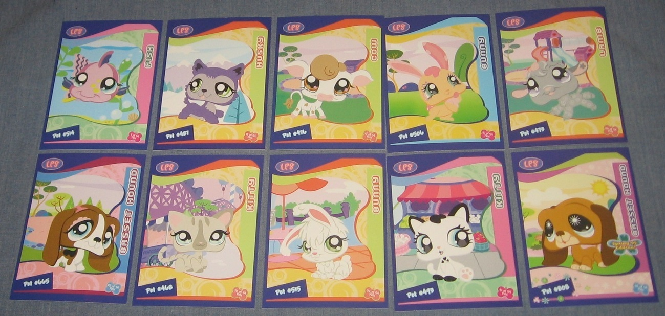 LPS Littlest Pet Shop Cards Basset Bunny Kitty Fish Lamb Cow Husky