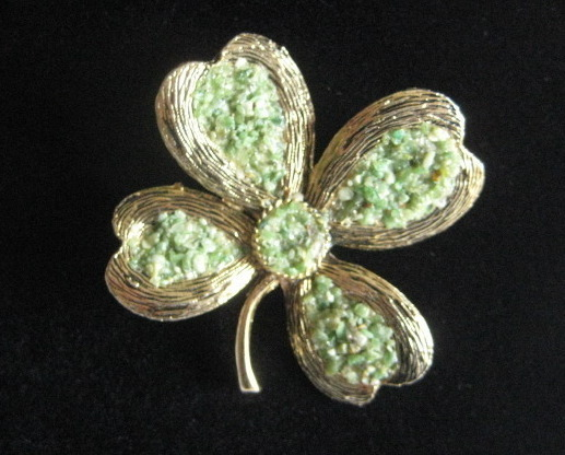 Vintage Hand Made Brooch WIth Green Crushed Aventurine Signed