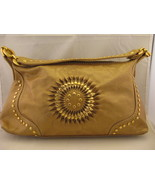 Metallic Gold Soft Vinyl Handbag With Gold Grom... - $14.00