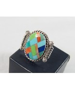 Sterling Silver Southwest Mosaic Ring R.B. Sz 6  Turquoise Etc Running Bear