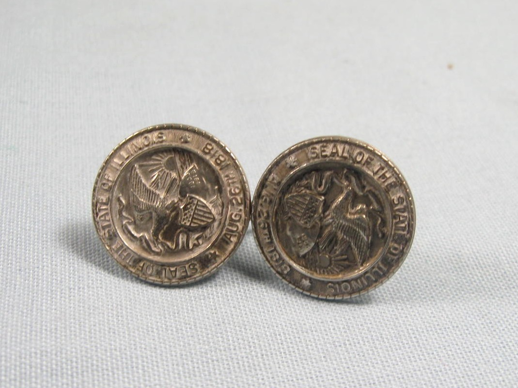 Vintage 1950s Illinois State Seal Sterling Silver Screw Back Earrings