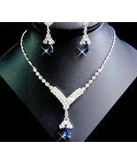 5 Sets Navy Blue Rhinestone Necklace and Earrin... - $112.99