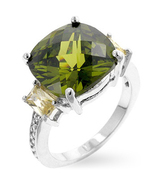 Ladies Peridot CZ And Champagne CZ Ring  Size 6... - $32.00