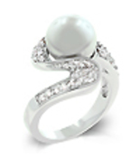 Ladies Silvertone 10mm Shell Pearl Fashion Ring... - $32.00