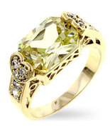 Ladies Pale Lemon Green CZ Ring Size10 New - $24.00