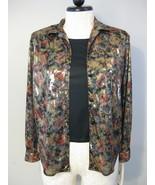 Rebecca Malone Gold Floral Blouse Size L NWT - $16.00
