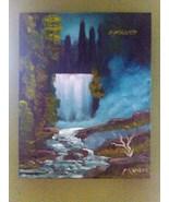 Blue Moon Falls Original Landscape Oil Painting... - $100.00