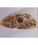 18K Solid Yellow Gold Filigree Natural Ruby Dia... - $225.00
