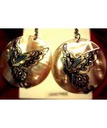 Butterfly pearl tone shell earrings - $6.40