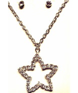 Rhinestone star charm and necklace silver toned - $6.20