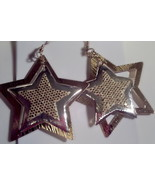 Star dangle earrings gold and silver toned(GOLD... - $2.05