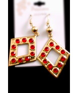 Square gold tone earrings with red rhinestones - $2.00