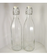 Two Tall Italian Cerve Glass Bottles, Wire Bail... - $9.99