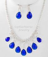 Royal blue tear drop crystal necklace set for p... - $16.82