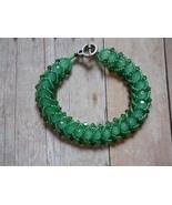 Green Flat Spiral Weave Bracelet: Swarovski Cry... - $30.00