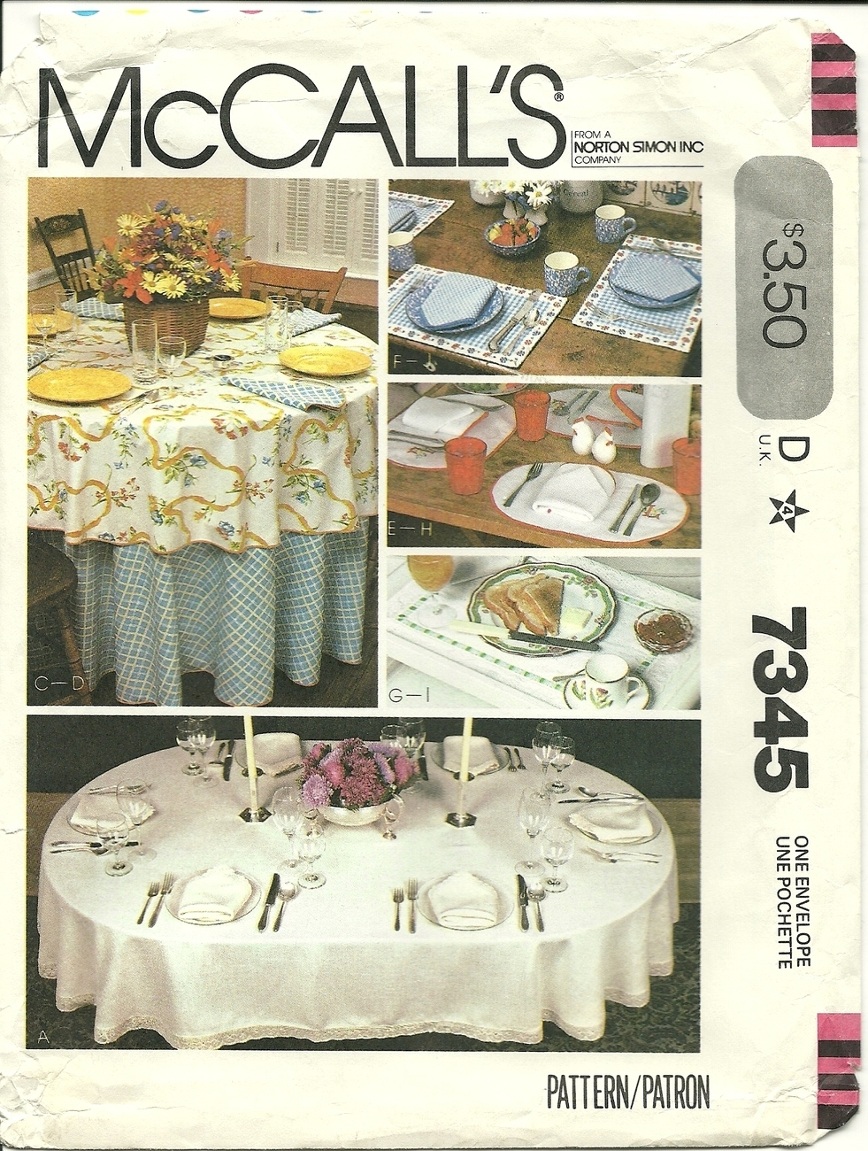McCall's Pattern 7345 Tablecloth Linen Placemats Napkins New