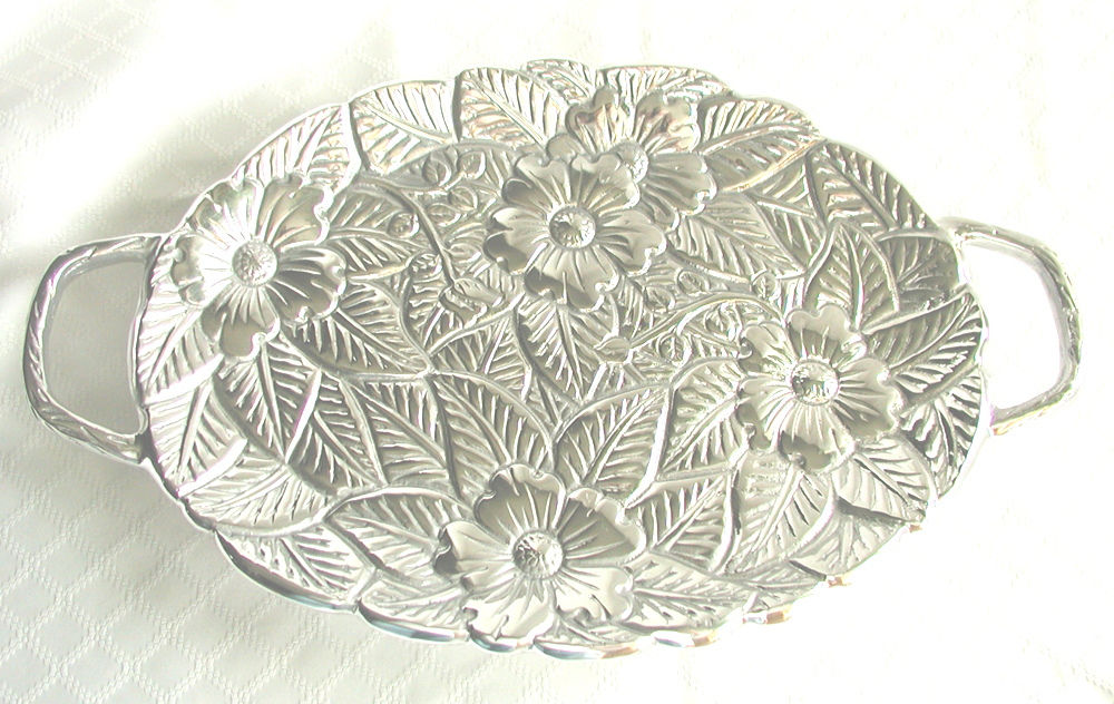 "OVAL HANDLED SERVING/PLATTER TRAY 14"" RAISED FLORAL DESIG N"