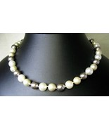 Gray or Grey and Cream Strand of Pearls Sterlin... - $137.28