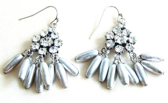 J Crew Crystal Drop Dangle Rhinestone Silver Earrings Gray Grey Oblong Oval Bead