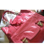 NWT&#39;s Coach Poppy Leather Pushlock NS Tote # 17924, Color, Camelia/Pink, Silver 