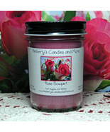Rose Bouquet Jelly Jar Candle PURE SOY - $8.00