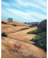California Hills Landscape Bobcat Lynx Original... - $699.00