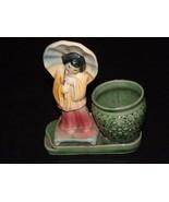 Oriental Figurine Vase Parasol Ceramic Yellow G... - $24.99