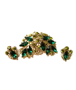 Demi Parure Rhinestone Brooch and Earrings Vintage - $28.00