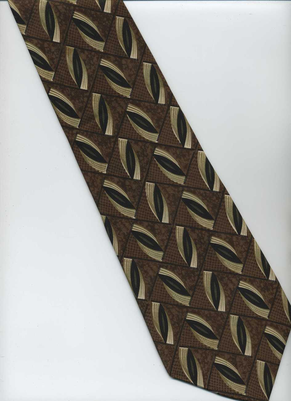 Albert Nipon Tie - Brown, Black, Tan - Check Pattern, Silk Tie