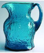 MORGANTOWN Crinkle-Peacock Blue Glass Pitcher - $58.00
