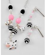 Kids' Adorable cow charm Necklace set pink blac... - $11.87