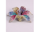 Orchid multicoloured gorgeous pin brooch - free shipping - Bonanzle
