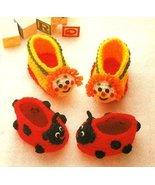 X688 Crochet PATTERN ONLY Clown & Ladybug Booti... - $6.45