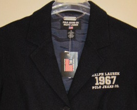 Ralph Lauren Polo Navy Wool Blazer Size 8 New