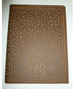 ITALIAN BROWN GEOMETRIC FLORAL EMBOSSED REAL LE... - $21.99
