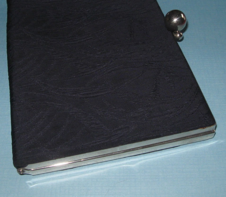 Vintage midcentury Navy blue clutch evening hand bag