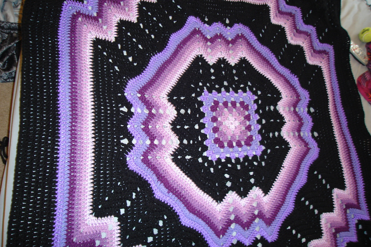 Free Crochet Granny Ripple Afghan Pattern : Crocheted afghan, multi-colored purples/black granny ...