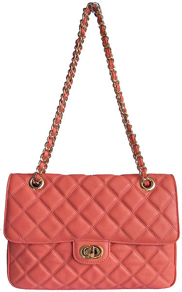 Carbotti Designer Style Quilted Coral Leather Handbag