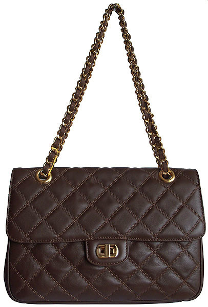 Carbotti Designer Style Quilted Dark Brown Leather Handbag