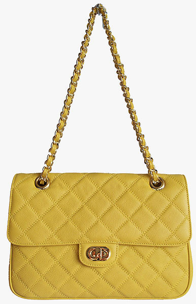 Carbotti Designer Style Quilted Banana Yellow Leather Handbag