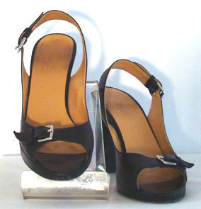 Designer Shoes Hermes Black Leather Platforms  from bonanza.com