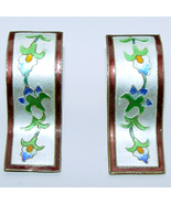 Vintage Floral Enamel Pierced Earrings Marked Silver