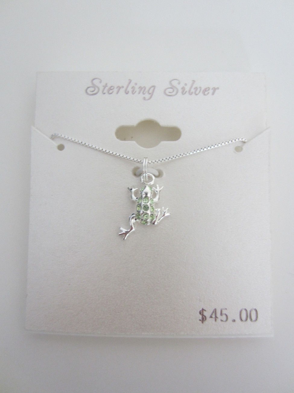Adorable Sterling Silver Frog Pendant with Light Green Stones SO CUTE!