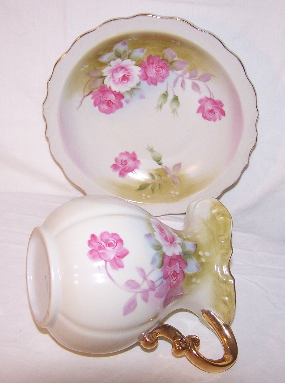 Norcrest Lefton China Green Heritage Pitcher Bowl L 353 Vintage Floral Pink
