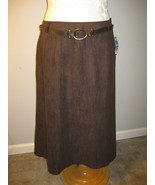 J M Collection Ultrasuede Brown A-Line Skirt Si... - $26.00