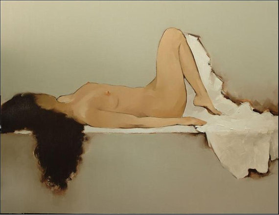"Nude resting, 24"" X 33"" original oil painting by Binh"