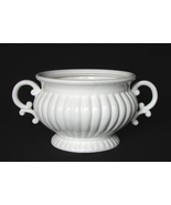 SOUP TUREEN, WHITE RIBBED, BASE ONLY - $49.00