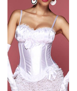 Sexy White Peasant Top Satin Corset with Lace T... - $30.99