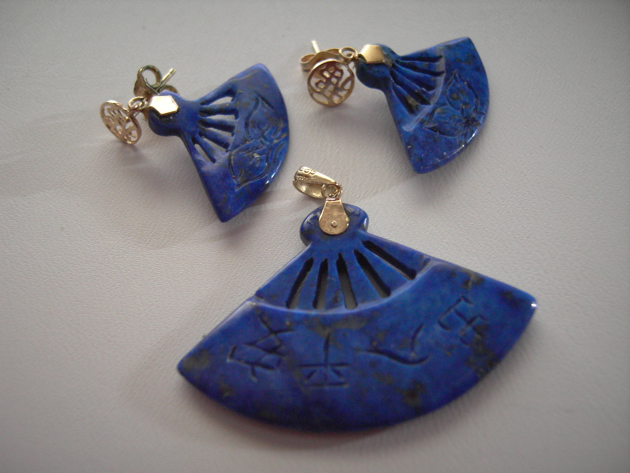 14k Solid Gold Lapis Lazuli Earrings  and Pendant Fan Design