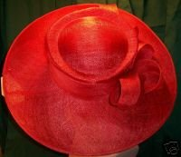 Amazing Red Straw Picture Hat w/ Self Bow Detail